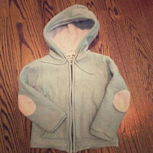 Wool cotton sweatshirt with a hoodie